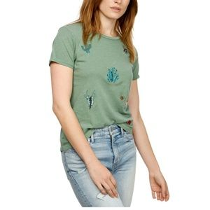 Lucky Brand S Army Green Cactus T-Shirt 7AK36